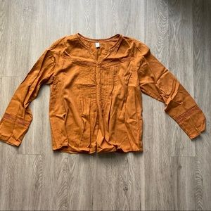 NWOT Old Navy Long-Sleeve Blouse Mustard Size L
